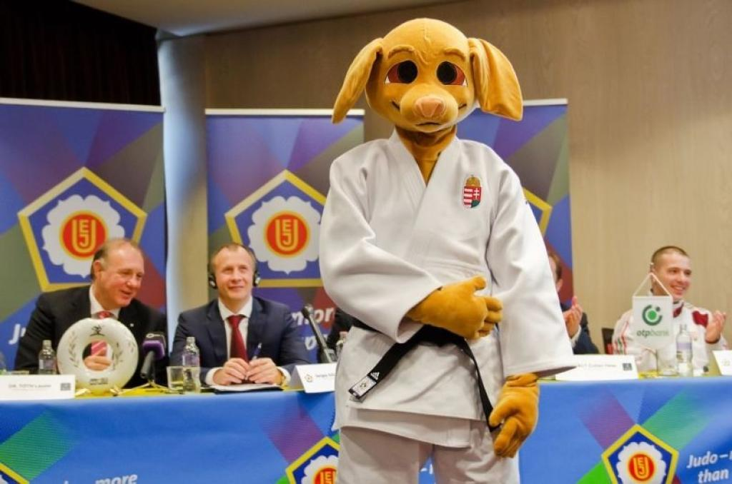 Euro2013 Mascot Judoggy awaiting the participants and fans
