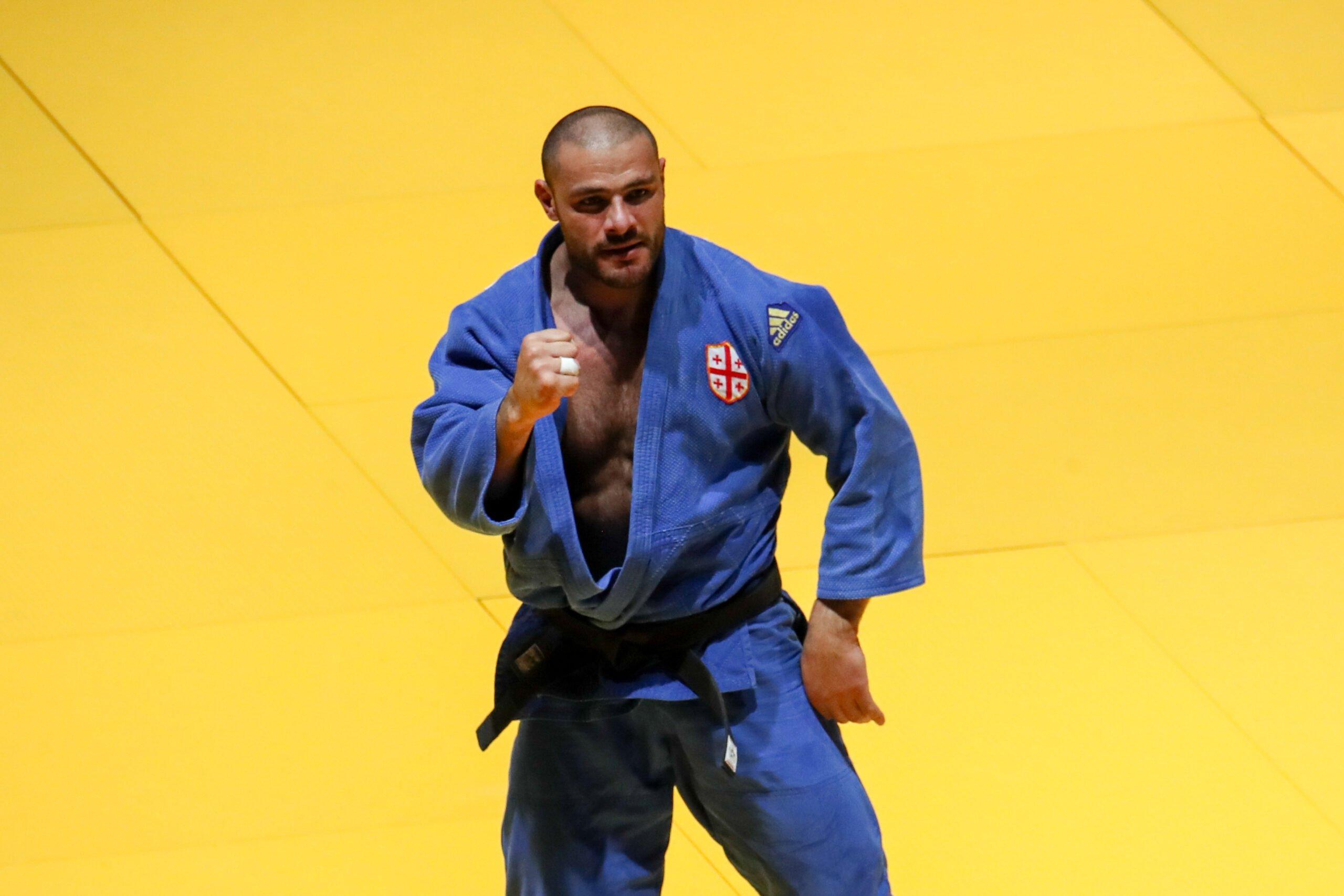 Georgian judo star Guram Tushishvili (GEO) is celebrating in an adidas judogi