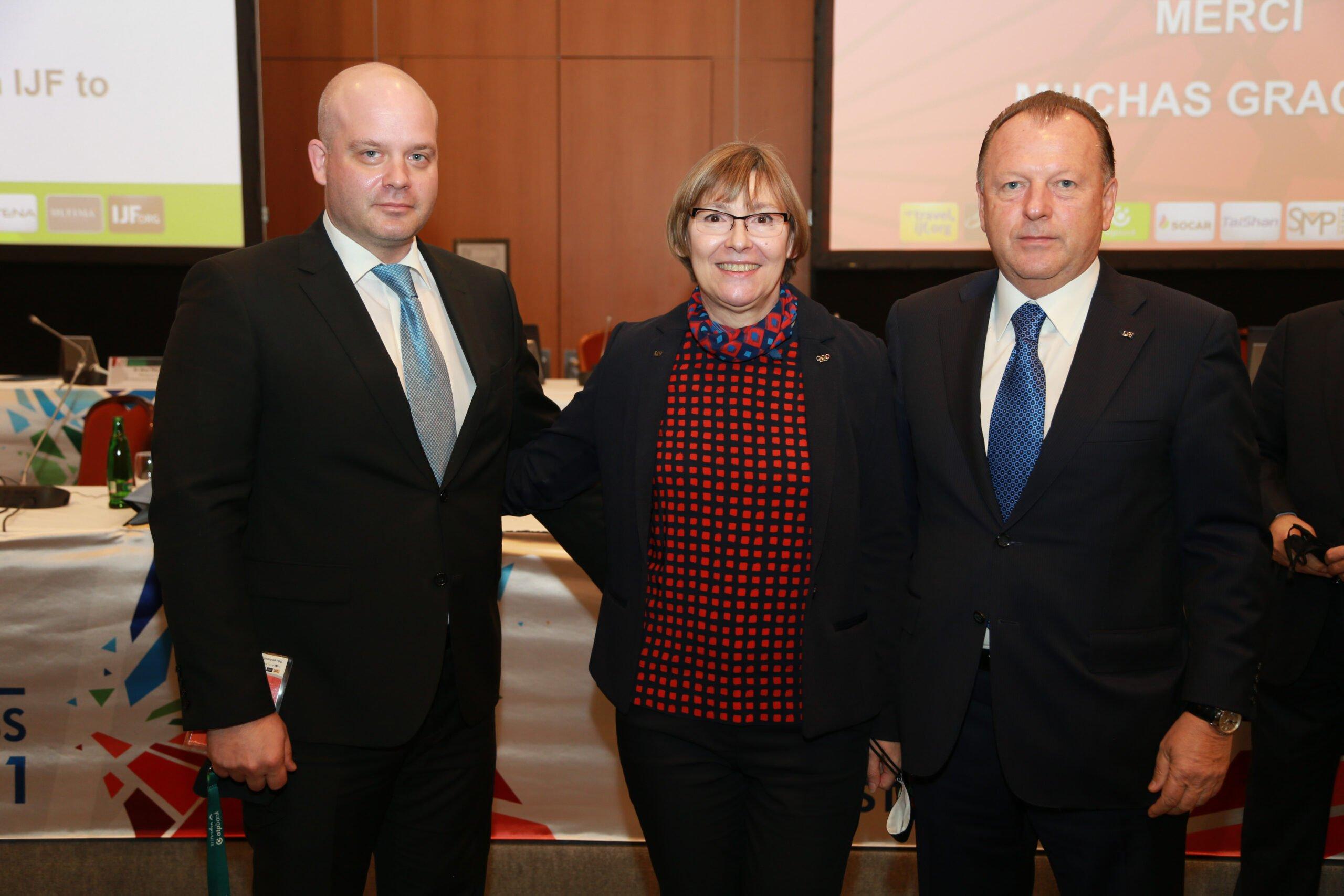 New IJF Education Director Sanda Corak (CRO) with Marius Vizer and EJU Sport Director Hrvoje Lindi